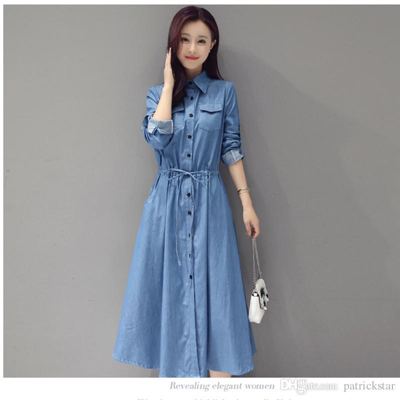 563b5cbca69 2018 New Trendy A Line Shirt Jean Dress Midi Blue Womens Elegant XXl Cotton  Slim Cowboy Loose Jeans Dresses Autumn Party Dresses Junior Short Purple  Dresses ...