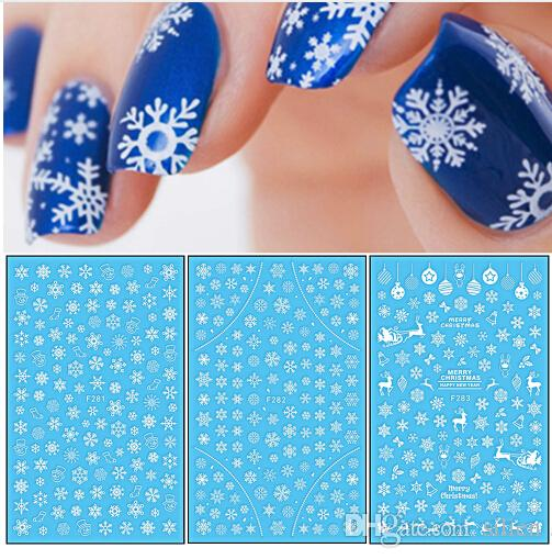 3D Nail Sticker Christmas Theme Pattern Mixed Deer/Snowflake Image Tips Nail DIY Decoration Sticker Decal