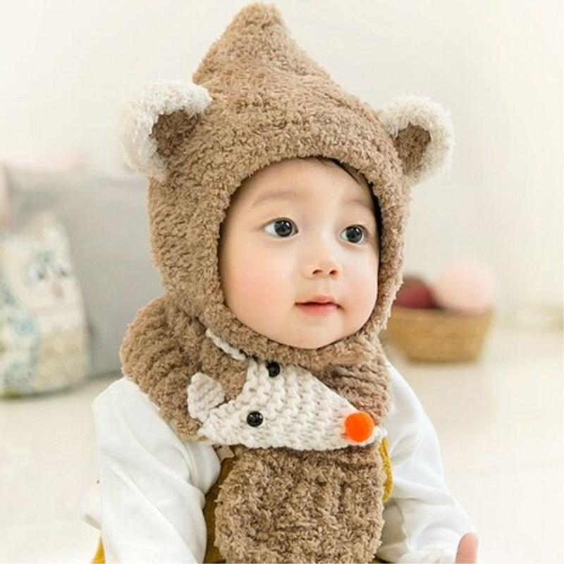 1b9e7eefb7b 2019 Baby Winter Hat And Scarf Set Very Warm Infant Beanie Cap For Children  Boys Girls Cartoon Fox Style Kids Crochet Knitted Shawl From Fwuyun