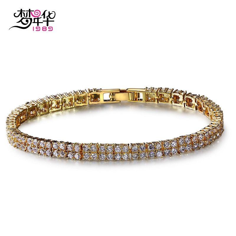 DreamCarnival1989 Brand Luxury Linked Chain Bracelets for Women Two Rolls CZ Rhodium Gold Color Wedding Bijuox Pulseira Feminina