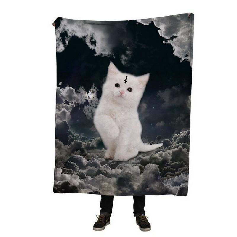 EHOMEBUY New 3D Blanket Modern Printed Flannel Warm Kids Adults Home Use White Cat On Clouds Rectangle Thread Blanket
