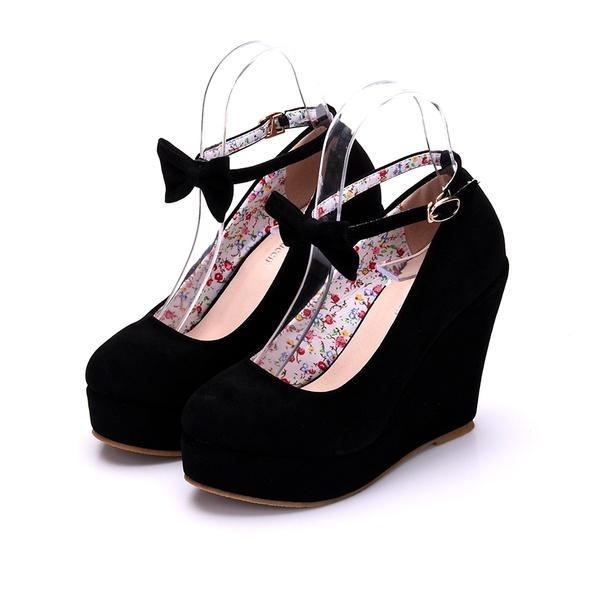 Compre Negro Rojo Elegante Zapatos De Cuñas Zapatos Cuñas Bombas Para Mujer  Plataforma Tacones Altos Punta Redonda Zapatos De Tacón Alto Zapatos  Zapatos De ... 1b399aeb9077