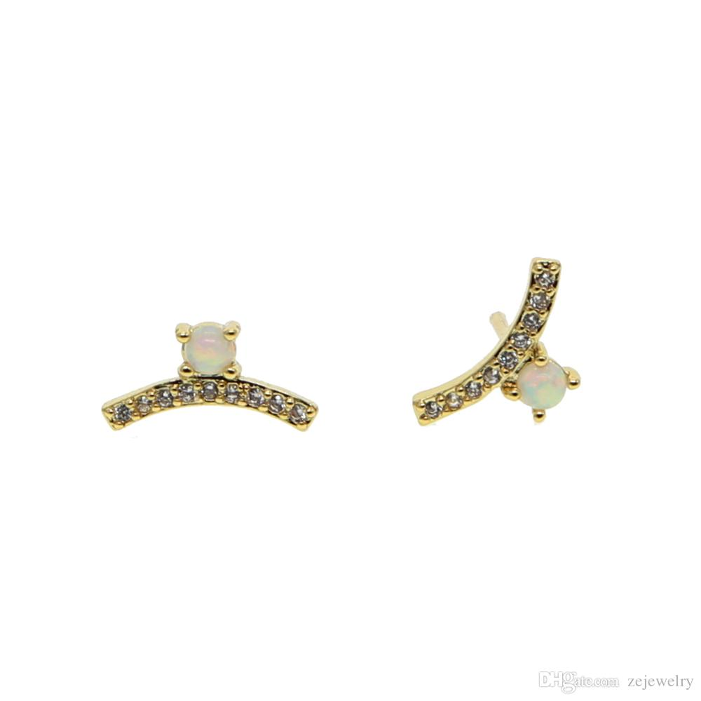 043cd057d 2019 2018 New Design Pave Mini White Round Cz Fire Opal Gem Stud Earring  Fashion Elegance Women Jewelry For Cute Girl Wedding Delicate Earrings From  ...