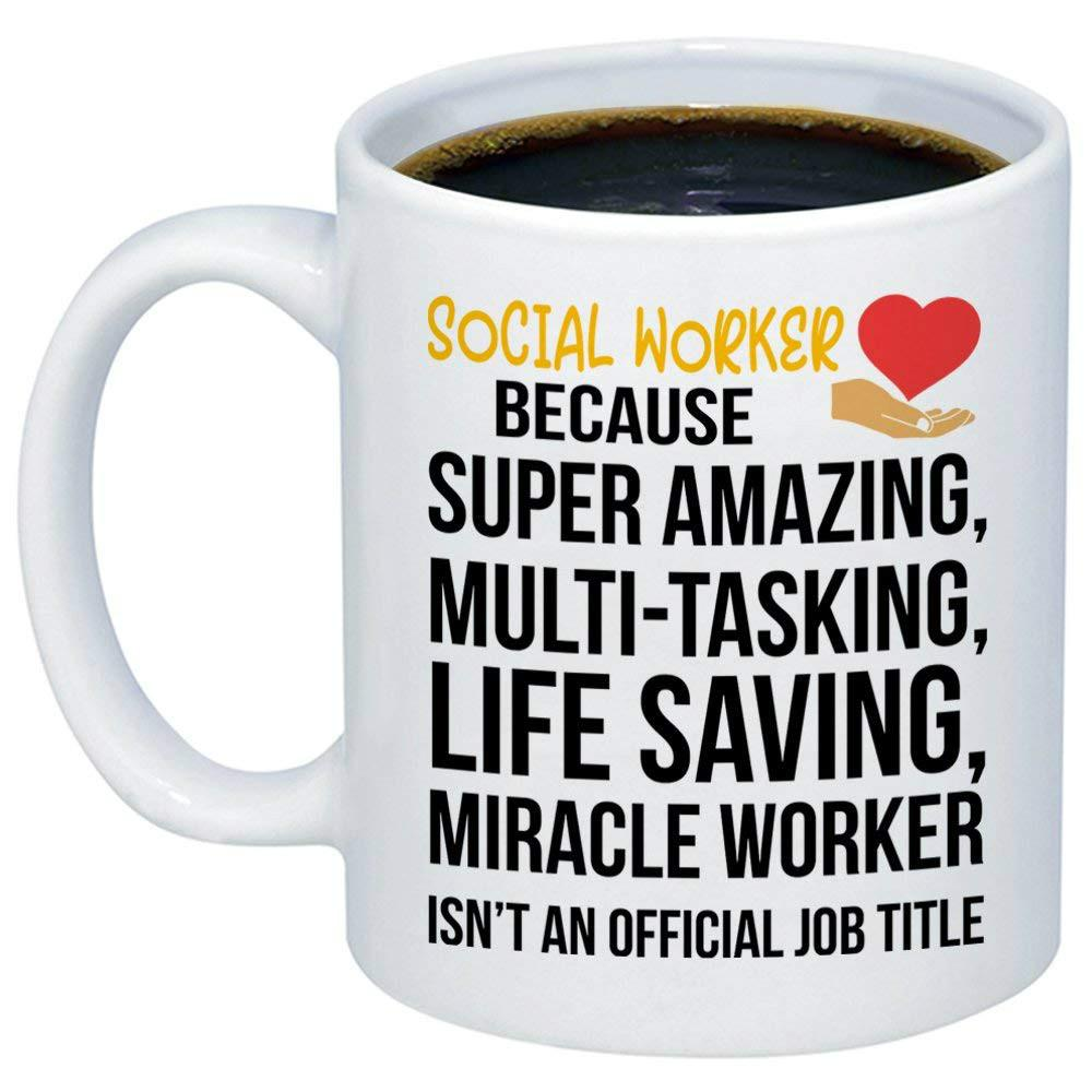 amazing social worker miracle worker job title coffee mug funny