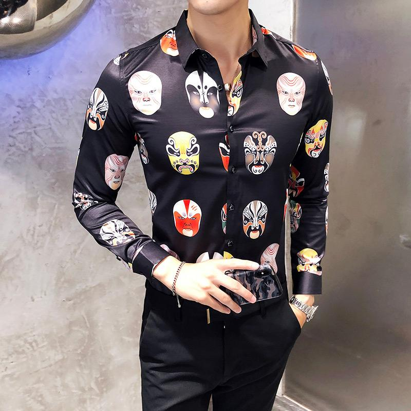 Fashion Print Design Men Shirt Autumn New 2018 Slim Fit Tuxedo Shirts Long Sleeve Korean Dress Shirt Male Black XXXL
