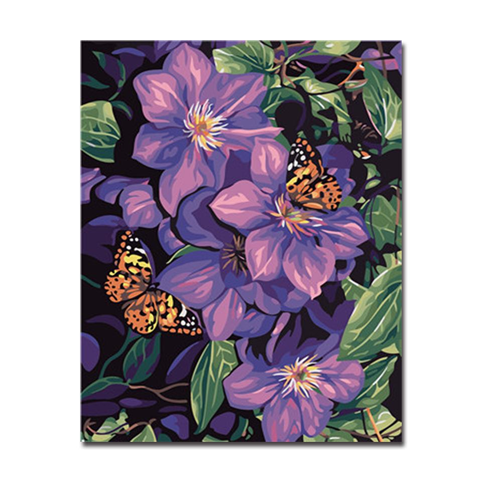 Butterflies On Flowers DIY Digital Painting By Numbers Coloring Abstract Oil Pictures Hand Painted On Canvas Home Decor Wall Art