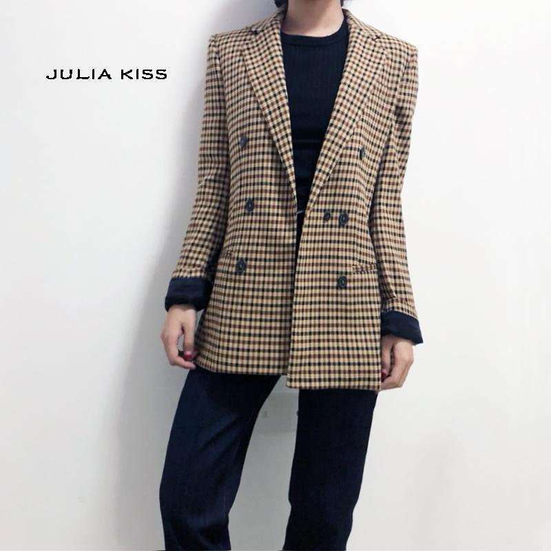 7f75d6a1 Women Dual Pocket Checked Blazer Double Breasted Plaid Blazer Down Jackets  Womens Winter Jackets From Feixianke, $36.59| DHgate.Com