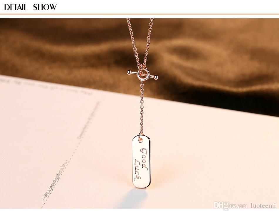 LUOTEEMI Brand Classic Rose Gold Color 925 Sterling Silver Necklaces For Women Link Chain Square Good Luck Pendant Necklace Gift