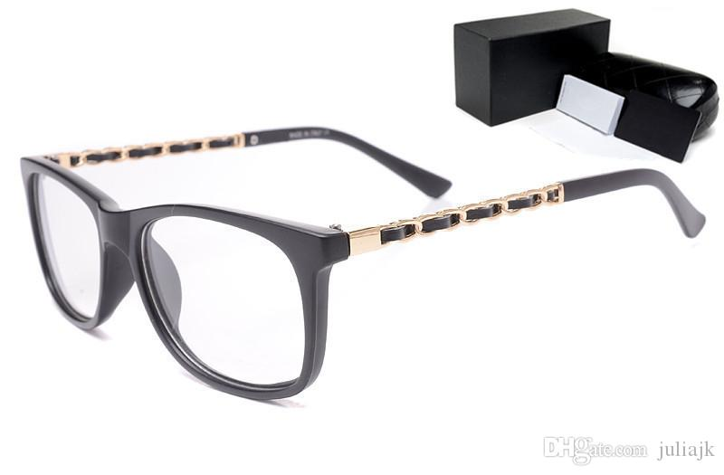 New fashion brand design metal chain legs with leather optical glasses clear lens female reading glasses computer anti radiation eyewear
