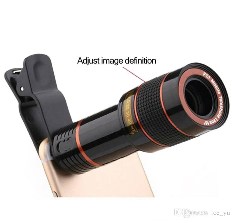 HD Mobile Phone Telephoto Lens No Dark Corner 12 X Zoom Optical Telescope Camera Lens with Clips for All Phone