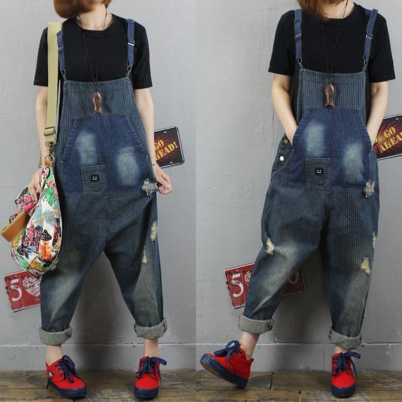Acquista Worn Do Old Style Tute Larga Donna Hip Hop Low Drop Cavallo Denim  Tuta Streetwear Jeans Jogger Pantaloni Bib L18 90 A  54.92 Dal Cety  38574c1239d1