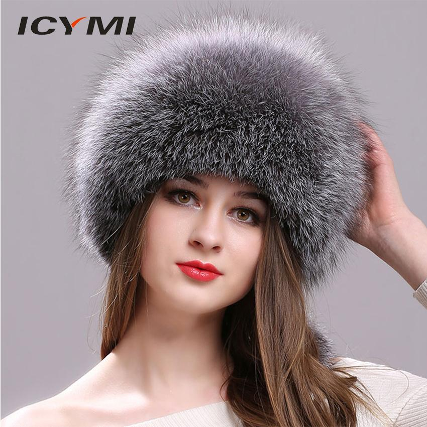 e91db7ebaa8 ICYMI Natural Fox Fur Hat For Women With Leather Top Mongolian Princess Hat  With Pompom Winter Warm Thick Fur Russian Ushank Cap D18103006 Fitted Hats  Straw ...