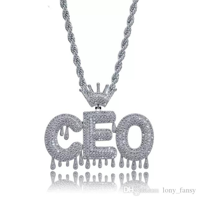 Wholesale A Z Name Custom Bubble Letters With Crown Pendant Iced Out Chain  With 24 Rope Chain Hip Hop Jewelry Women Mens Necklace Choker Long Pendant  ... 864222329