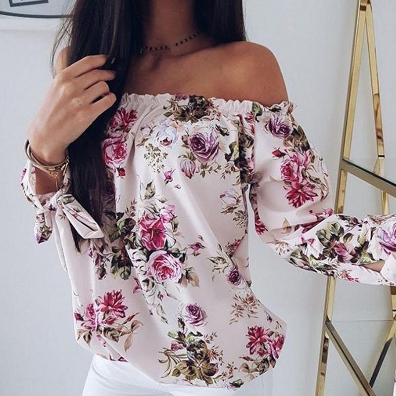 46a8f279b Compre Blusas De Mujer Blusa De Flores 2019 Camisa Femenina Superior De  Verano Camisa De Manga Larga Estampado De Corbata Cuello Oblicuo Camisa De  Hombro ...
