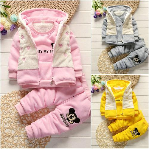 e37f77acd 2019 Kids Boy Girl Warm Clothing Suits Girls Outfits Hooded Vest+ ...