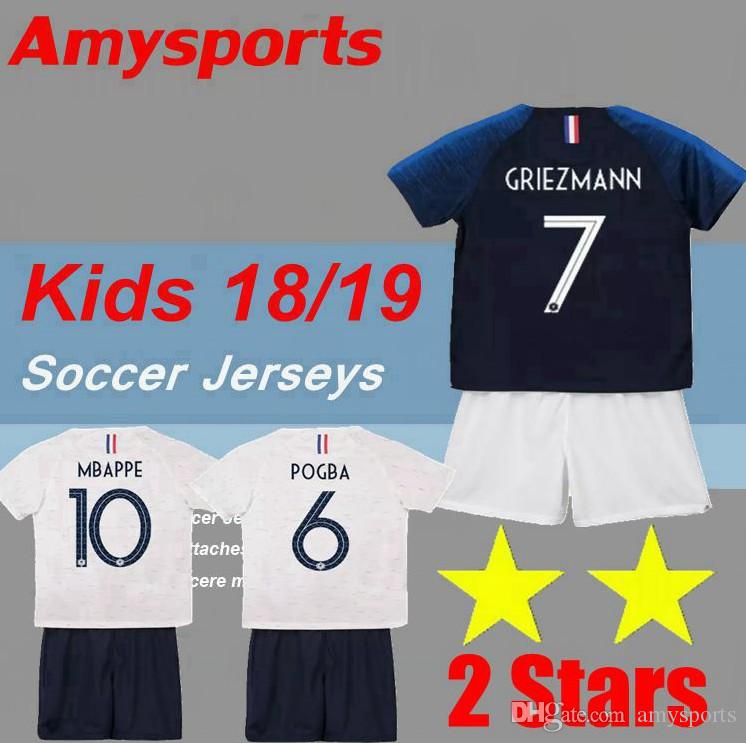 best service 1559a 00f28 Kids kit 2 two stars GRIEZMANN MBAPPE soccer jersey boys child youth world  cup 2018 2019 POGBA UMTITI LACAZETTE football shirt