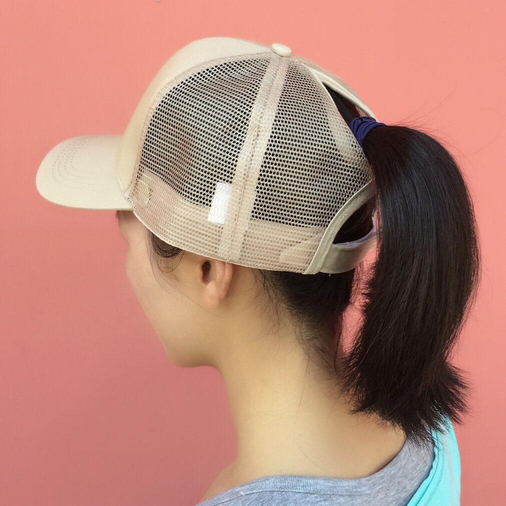 2018 snapback chapéus para mulheres rabo de cavalo desarrumado pães mulheres praia malha boné de beisebol chapéu preto camionista trucker ponycaps planície boné de beisebol