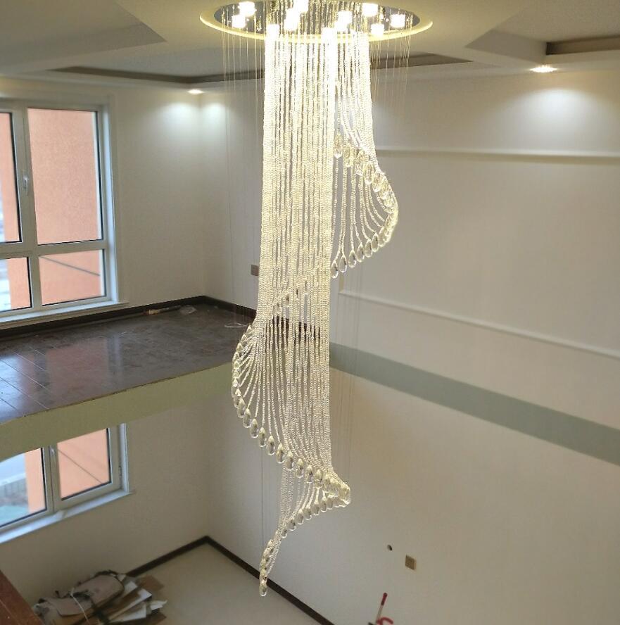 Großhandel Moderne Treppe Kristall Kronleuchter Duplex Boden Im ...