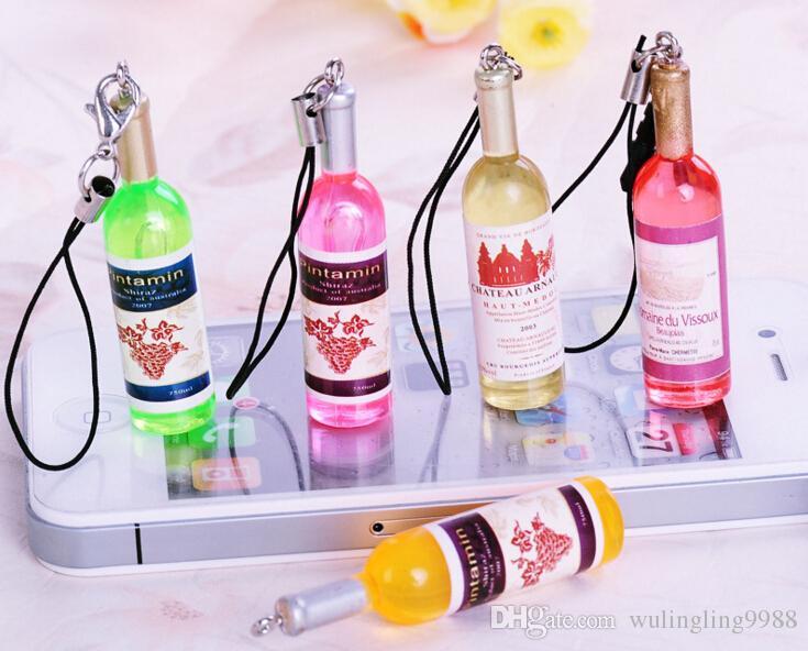 Kleine weinflasche wein handy anhänger schlüsselanhänger schlüsselanhänger bierflasche kreative korea schmuck geschenke geschenke 30 stück