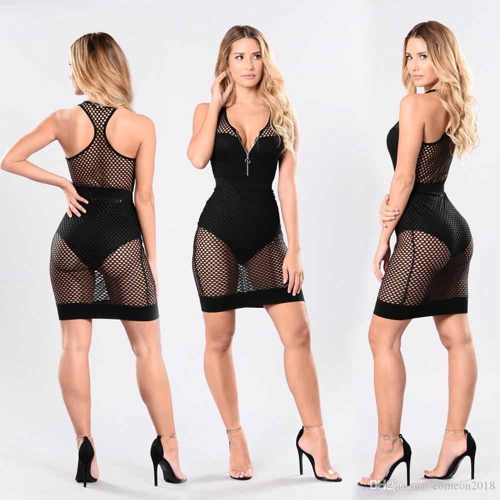 Designer Donna Abiti Moda Donna Bodycon Abito rete metallica anteriore Zipper Mesh Mini Dress Sexy Vedere attraverso Deep V Nightout Dress Club Wear