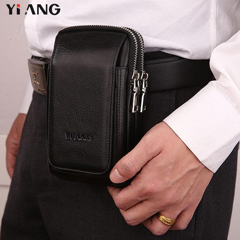 4181bac6d7eb3 YIANG Waist Packs For Men Leather Mobile Phone Bags 2 Styles Waist Bag  Fashion Belt Clip Bag Multifunction Design Zipper Pouch Belt Bags Kavu  Backpacks From ...