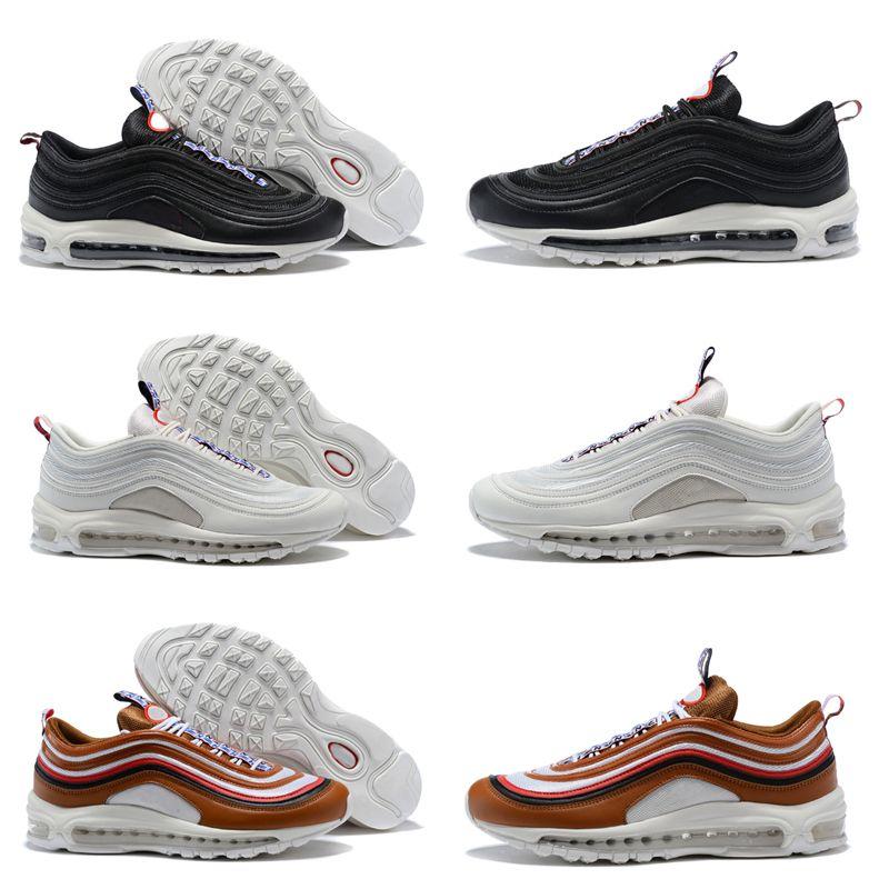 pretty nice 6fa8f 711d2 Acheter Nike Air Max 97 Brown Black Blue Premium Sneakers Og Qs White 2018  Nouvelles Chaussures De Course Sports Designer Femmes Hommes 97s Tt Ul17  Sean ...