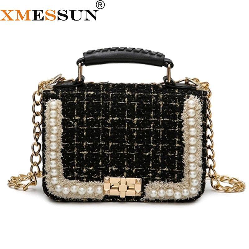 Pearl Bag Wool Crossbody Bags 2018 Summer Luxury Handbags Women Bags  Designer Messenger Bag Wholesale Drop Shipping F24 Black Handbag Fashion  Bags From ... e53800397111d