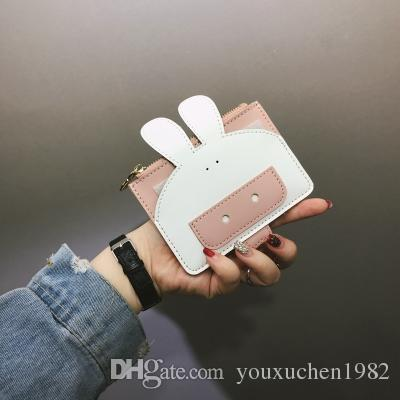 Designer brand Leather purse Women Wallet short Coin Purse Female cartoon panda dog animal card holders Wallet Purse For Girls Money Bag