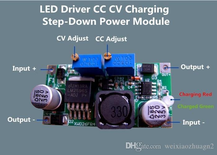 LM2596 + LED Sürücü Sabit Akım Şarj Cihazı Step-Down Güç Modülü ile Şarj Göstergesi CC CV Yükseltme