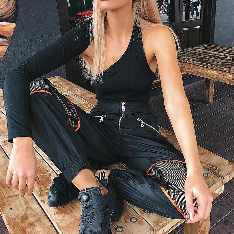 2018 Yeni Kızlar Harem Hip Hop Dans Pantolon Moda kadın Fermuar Partwork Örgü Kargo Pantolon Lady Baggy Düz Çok cep Pantolon