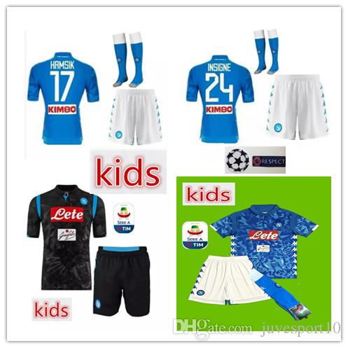 ee4ee9064 2019 New Kids Napoli Home Away Soccer Jersey 2018 2019 Child Kit HAMSIK  MERTENS MILIK L.INSIGNE CALLEJON Allan Zielinski Naples Home Football Kit  From ...