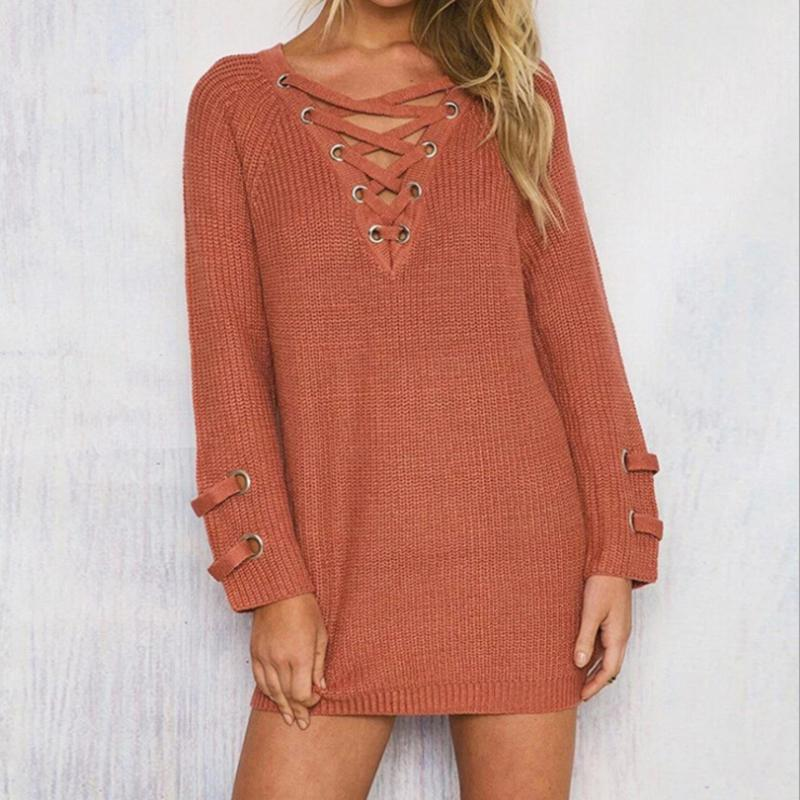 2019 Lace Up Woman Winter Dress 2019 Knitted Dress Deep V Long Sleeve Women  Sweater Dress Sweaters And Pullovers Online with  45.44 Piece on Jamie02 s  Store ... 62ec9885c