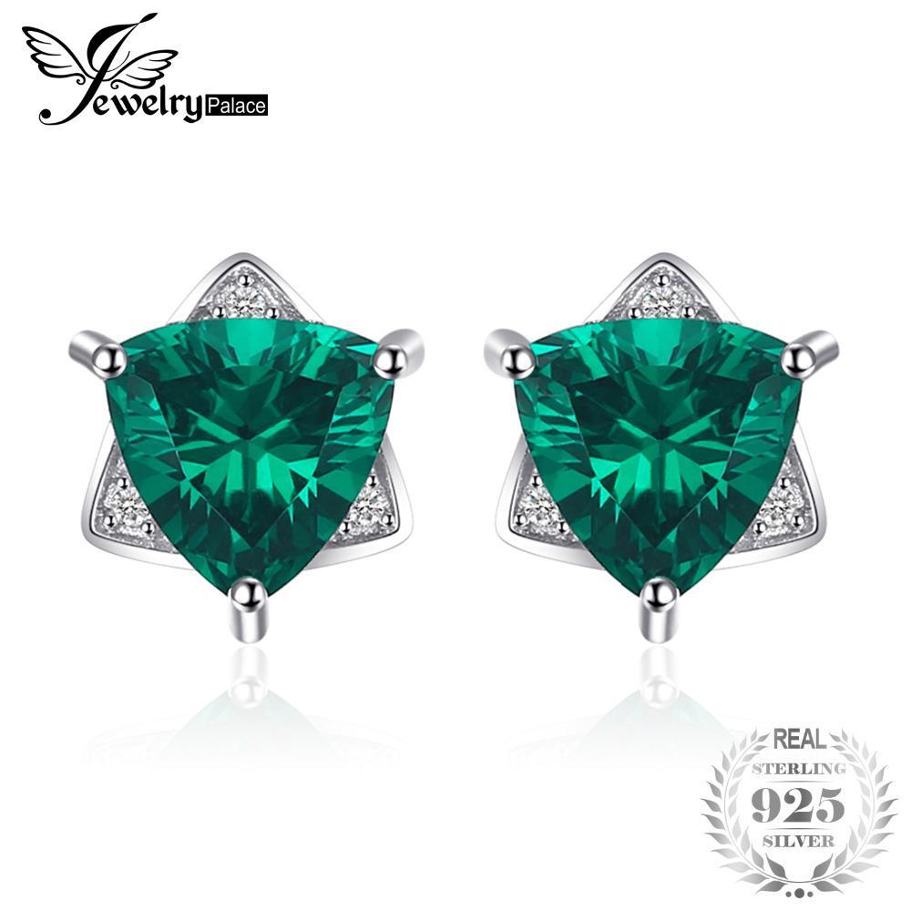 fd154947636e Compre JewelryPalace Triángulo Forma 2.22ct Creado Emerald Stud Earrings  100% 925 Pendientes De Plata Para Mujeres Marca Fina Joyería D1892601 A   25.58 Del ...