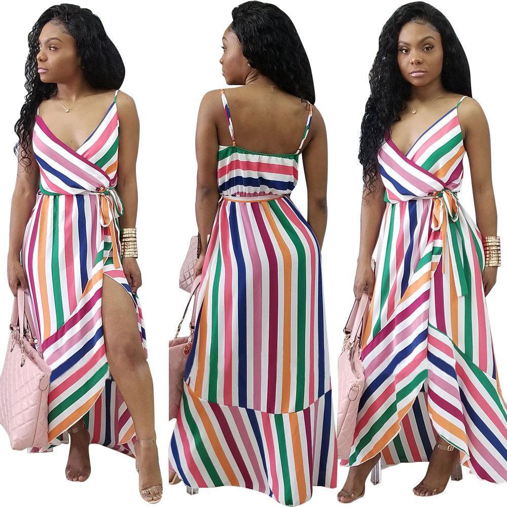 a75a874ef5 New Women Summer Boho Maxi Long Dress Striped Halter Evening Party Beach  Dresses Sundress Irregular Bohemian Beach Dress Plus Size