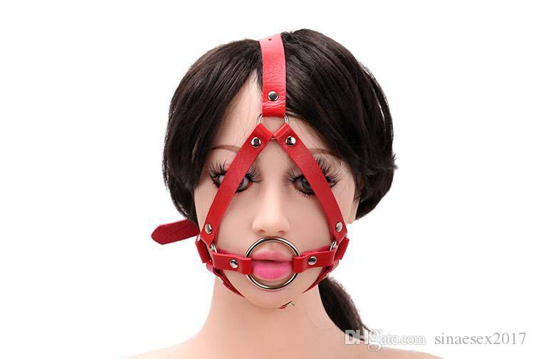 Metal Ring Open Mouth Gag Ball Gag With Nose Hook SM Tools Sex Slave Mouth Plug Full Head Harness Fetish Sex Toy