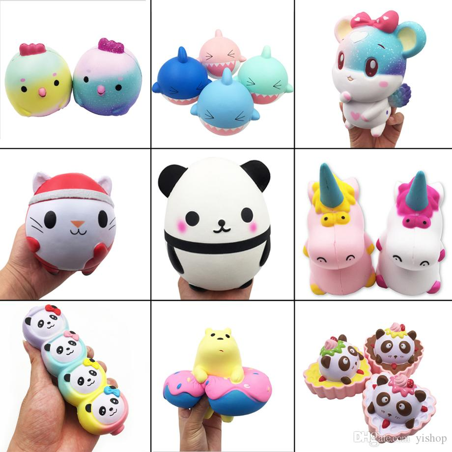 Compre Kawaii Squishy Brinquedo De Natal Gato   Tubarão   Panda   Unicórnio    Frango   Rato Squishies Squishies Lento Rising Soft Squeeze Strap  Presente ... ffe609baed