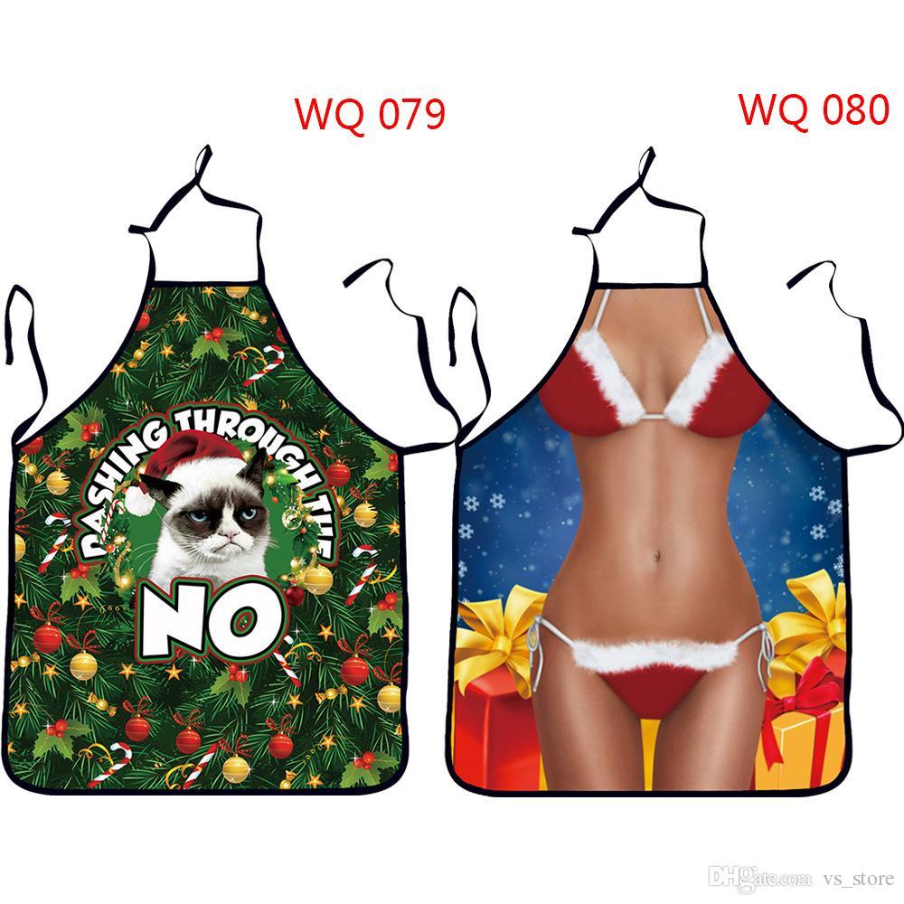 San Valentino Novità divertente Allegro grembiule di Natale Babbo Natale Dinner Party Grembiule Holiday Baking Cucina Cooking BBQ coppia di innamorati