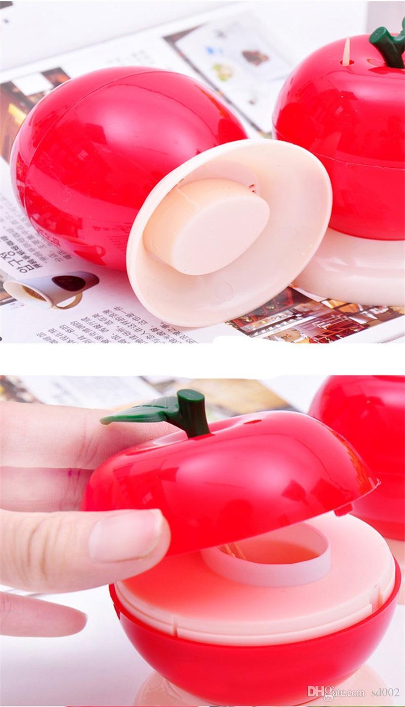 Único Diseño de Forma de Manzana Roja Tenedores de Palillos Prensa Auto Creativo Palillos Caja de Cubos Para la Decoración de Escritorio En Casa Venta Caliente 1 5yd Z