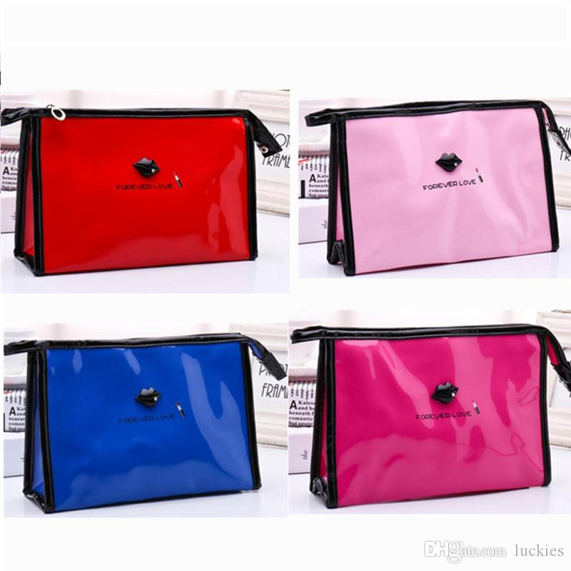 e01ac34798ae Cute Women Makeup Bag Large Capacity Patent Leather Cosmetic Bag Girls  Travel Make UP Case Beauty Pouch Toiletry Bag Bath Storage 0341