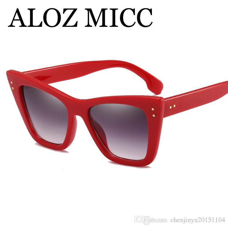 76e1f168b Compre ALOZ MICC 2018 Moda Cat Eye Óculos De Sol Das Mulheres Designer De  Marca Do Vintage Preto Rosa Vermelho Quadro Óculos De Sol Feminino Oculos  UV400 ...