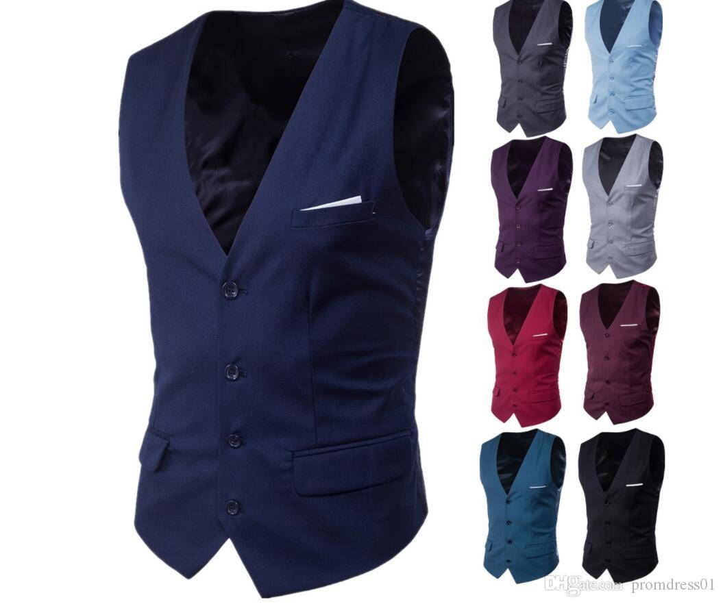 38abcf70605a Hot Sell Groom Vests Single Breasted Mens Suit Vests Slim Solid Casual  Wedding Party Bridesgroom Vest Suit For Grooms Suit Vest Tie From  Promdress01, ...