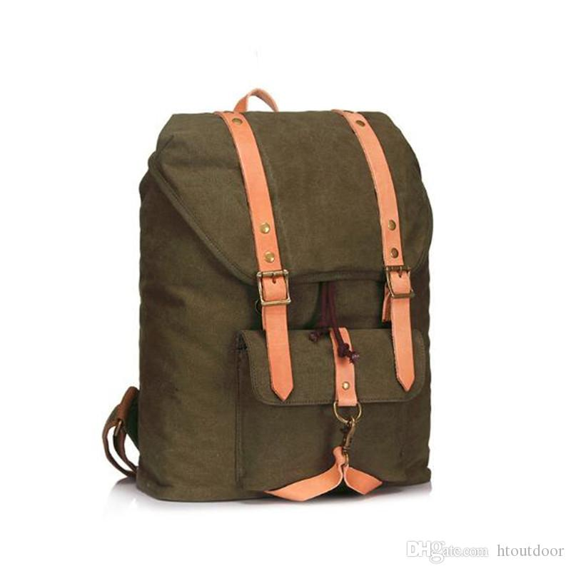 Large Capacity Vintage Canvas Backpack for Men Outdoor Fashion Casual  Business Bag School Bag for 14 Inch Laptop Canvas Backpack Canvas Backpack  for Men ... 3f2695e894850