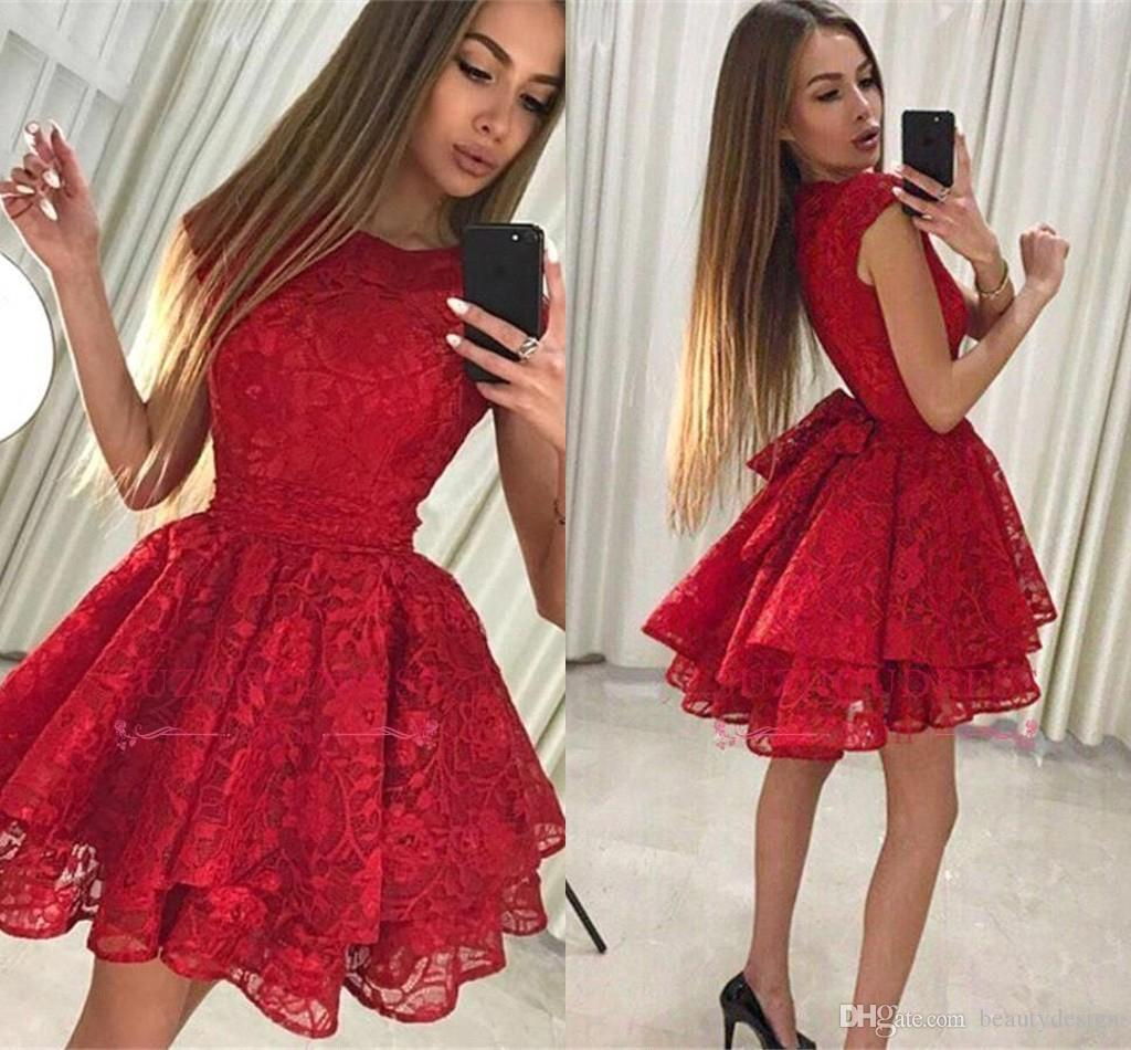 f9c7537e24dee 2019 New Little Red Lace Homecoming Dresses Ruffles Tired Skirt Short  Cocktail Prom Gowns Junior Graduation Wear Arabic BA9963