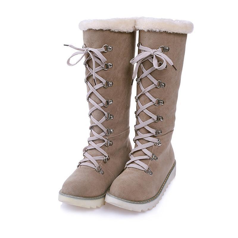 GRITION Winter Donna Stivali Verde Marrone Arancione Scarpe da donna Warm Flat Platform Velluto Donna Snow Boots Plus Size