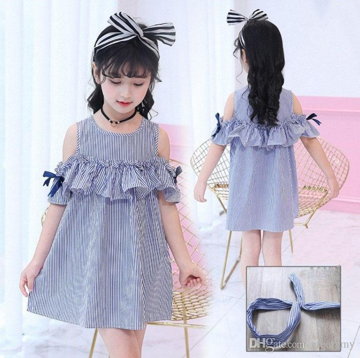 f681e1675 2019 Fashion New Design Baby Girls Princess Dress Kids Girl Princess Dress  Summer Striped Short Sleeve Mini Dress With Headband From Greatamy, ...