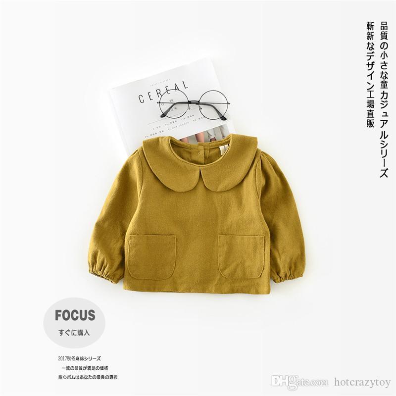 새로운 아동 T - 셔츠 봄 가을 100 % 코튼 스트 라이프 격자 무늬 아이의 공주 셔츠 아기 소녀 의류 부드러운 긴 소매 탑스