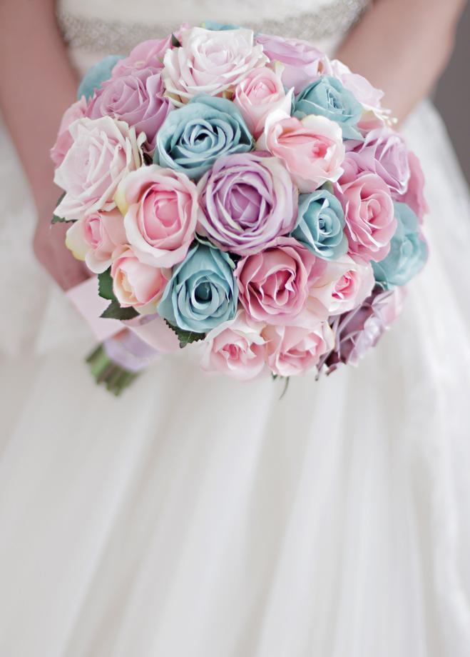 Pembe mor mavi gül ile özel şeker renk düğün buketi Gelin Buketi Çiçek Topu
