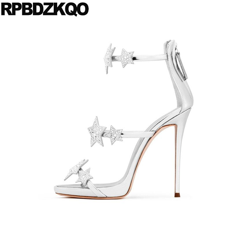 35b6aee1108 Stiletto Pumps Ankle Strap Crystal Silver Strappy Designer Shoes Women  Luxury 2018 Sexy Fetish Sandals Rhinestone High Heel Star Gold Wedges Red  Wedges From ...