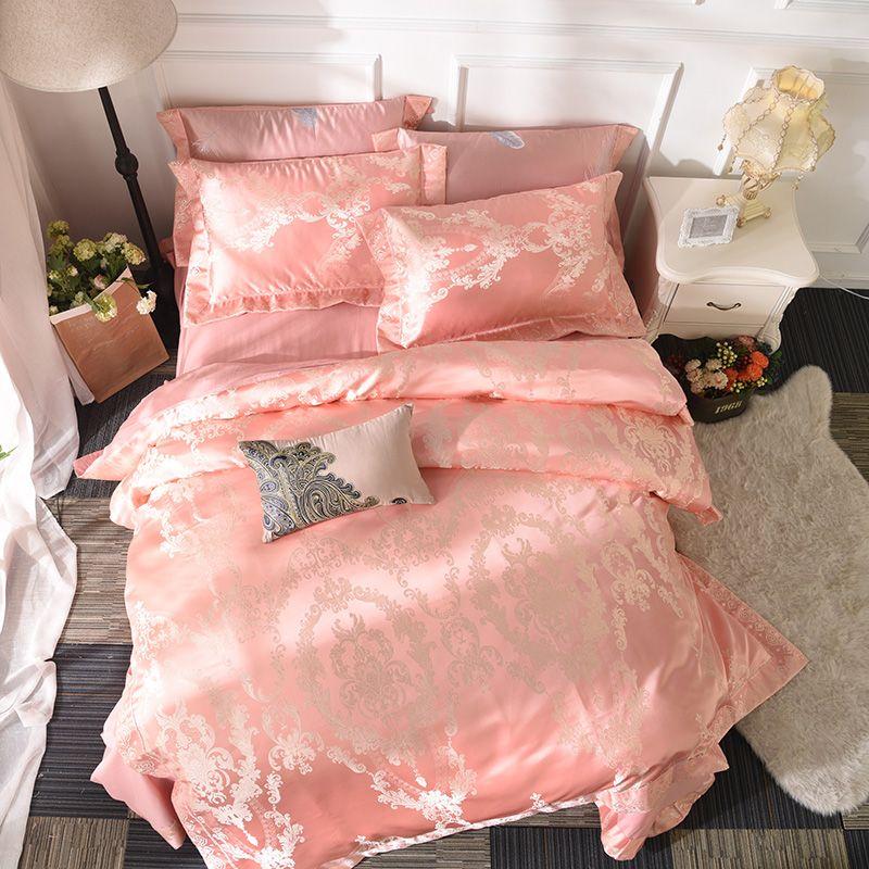 914467685f Compre Rosa Jogo De Cama Folha Bordada Capa De Edredão Fronha King   Super King  Size 100% Algodão Conjunto De Roupa De Cama Casa Têxtil De Huojuhua