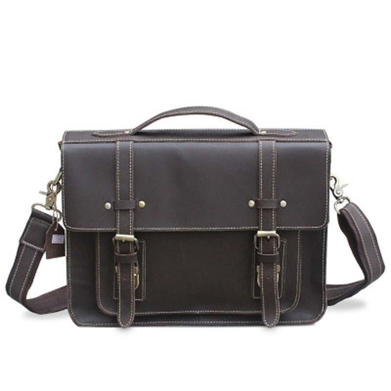 YISHEN Vintage Crazy Horse Leather Men Laptop Bags Briefcase Fashion ... 8776bb7467c1b